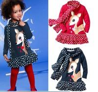 Retail 1set hot new fashion children girl suit kids set autumn spring 2pcs lovely cartoon deer dot dress + scarf red navy blue