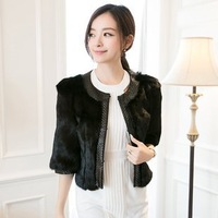 EMS free shippping New Natural Genuine Rabbit Fur Coat Women Warm  Jacket Luxury Winter Fur Waistcoats Wholesale Retail TF0461