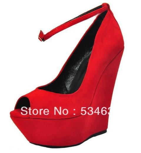 2013 sapatos documentários vermelho boca de peixe cunha de alto contraste cor sapatos para sapatos femininos(China (Mainland))