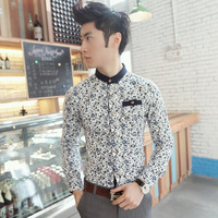 autumn cotton slim shirt blue and white porcelain print male casual shirt  fashion cheap origin casual shirt for men