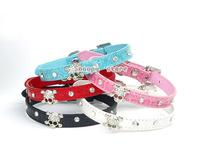 Free Shipping Diamante Rhinestone Crystal Skulls Dog Cat Collar Blue Pink Leather Pet Collar