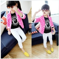 2013 free shipping Autumn female child polka dot roll up hem sleeve suit jacket
