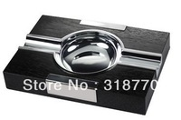 Free shipping, cigar ashtray JF-3018, big ashtray, high quality classic metal ashtray with real wooden bottom