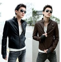 2014 spring and autumn outerwear hot-selling male casual stand collar slim leather clothing male leather jacket male motorcycle