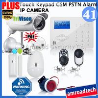 Touch Keypad GSM PSTN Wireless Home Security Burglar Alarm System + Outdoor HD 1080P PoE & Wifi Network IP Camera iHome328GPB41