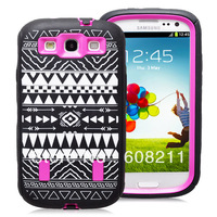 3-Piece Hybrid High Impact Laser Engraving tribal pattern Case Cover For Samsung Galaxy S3 I9300 Free Shipping