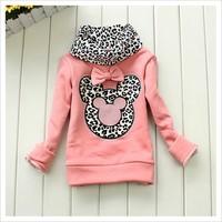 Autumn Winter Children Base Shirt Thicken Fleece Choker Cartoon Leopard Girls Sweatshirt Top T Shirt Baby Kids Undershirt  QS559