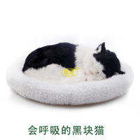 black patch Cat pampered petz pet mate breathing cat cute toy sleeping pet emulational mini vivid toy