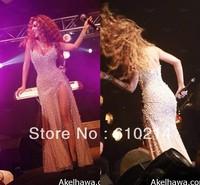 2013 New Fashion Myriam Fares Deep V-neck Overlay Pearls High Side-slit Sheath Formal Celebrity Dresses Designer Gowns