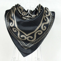 2013 New Arrival Classic Pattern New Style Women Silk Scarves,90*90cm Fashion Hot Sale Brand Black Gold Satin Silk Scarf Printed