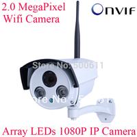 Onvif H.264 2.0 Megapixel 1920x1080 1080P HD Array IR Waterproof WIFI IP Camera Network Wireless Outdoor CCTV