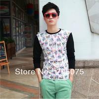 2013 Wholesale casual autumn long sleeves  3d printed men t shirt