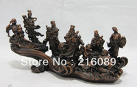 Chinese Red Copper Bronze Classic Myth The Eight Immortals God Buddha Art Statue z