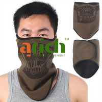 Novel Fleece Half Face Mask Camouflage Shield with Velcro Closure & Air Holes for Outdoor Activities - Army Green