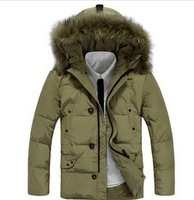 90% duck down 2013 Mens winter jacket with fur hood down padded coat for men wholesale , free shipping S-3XL QMM139