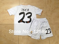 ISCO#23 Real madrid home white kid kit ,children soccer uniforms,child football white kit ,13-14 real madrid kid kit