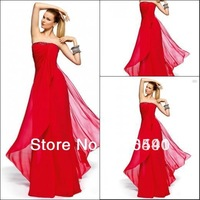 1312 Delicate chiffon bloody red crystals strapless formal dresses women