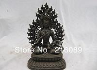 10 INCH Tibet Folk Fane collection Old Bronze Vajrasattva Kwan-Yin Buddha Statue z