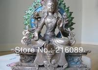 Tibet Buddhism Silver painted Green TaRa padma Kwan-Yin Guan Yin Buddha Statue z