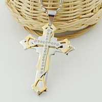 Cool,2013 New Fashion Stainless Steel,gold&silver cross pendant necklace men,rhinestone crucifix,Wholesale,Free Shipping, VP612