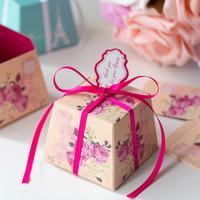 GAGA ! Free shipping pink flower wedding paper gift box , candy box  200pcs/lot , DAH2