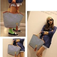 Gold chain bag tassel pendant navy style shoulder bag gladiator style stripe canvas tote