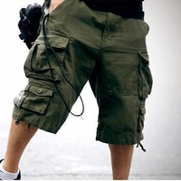 Summer knee length trousers multi-pocket overalls male casual capris loose Camouflage capris