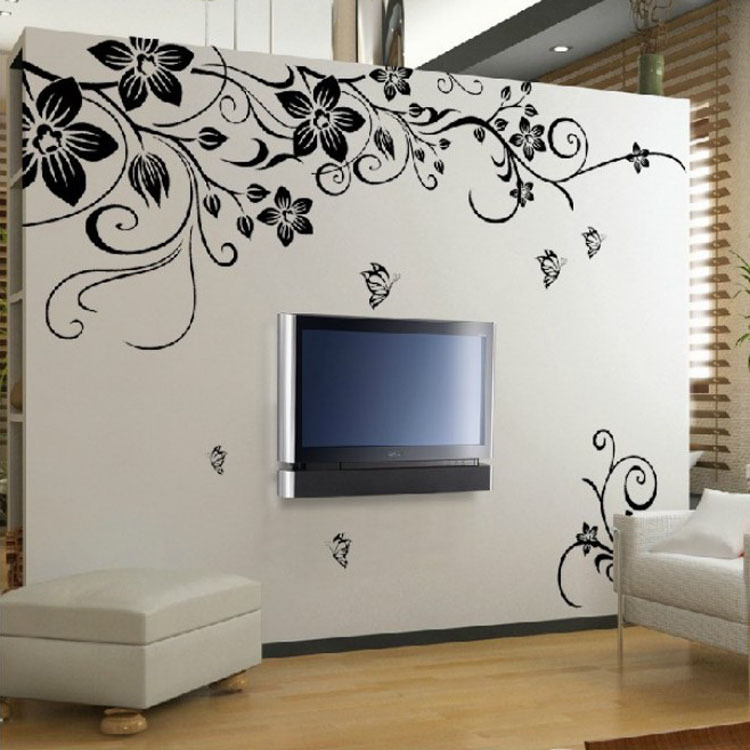 Popular Flowers Wall Sticker Wall Mural Home Decor Room Decor Kids Room HG-02375(China (Mainland))