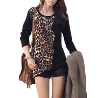 New Fashion Lady  Women's Leopard Pleated Slimming Fitted Long Sleeve Blouse Shirt  Retail+free shipping