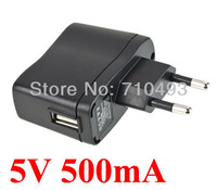 DC 5V 500mA EU Plug wall charger USB -EU EU Power Supply Adapter MP3 MP4 DV Charge High quality 500pcs /Lot Free shipping