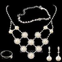 1 Set Rhinestone Heart Necklace Earrings Ring Bracelets Jewelry Set Adjusted Pearl Mesh 62232