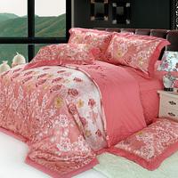 100% cotton thickening silk bedspread four piece set mulberry silk jacquard print silk bedding