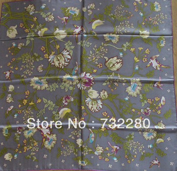2013 new design birds and flowers 100% Pure Silk 90x90cm twill square scarf  hijab scarf hand rolled edge