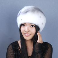 Marten hat 2014 mink hat women's cap mink winter cotton cap octagonal cap