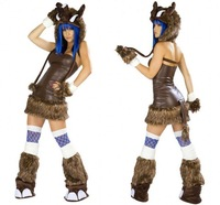 Halloween clothes japanned leather animal ds costume cos leopard print