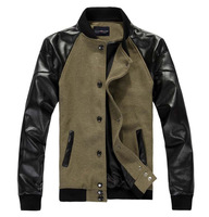 2013 new winter brand men's jackets coat single-breasted PU leather patchwork woolen men's jacket outwear M-3XL free shipping