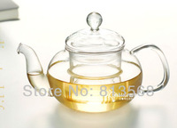 High quality 600ml pyrex glass tea pot heat resistant glass teapot with infuser, your household glass kettle