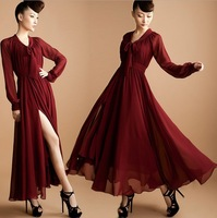 2013 New Plus Large Size Maxi Exclusive Dress Princess Shirts modest Long Sleeve Clothing With Pleat Details Chiffon Maxi Dress