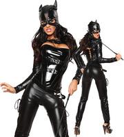 OISK SEXY BLACK VINYL DOMINATRIX CATSUIT COSTUME 5 PIECES/LOT MASK CORSET
