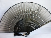 Free shipping!!Japanese bamboo folding Collapsible hand fan craft Arts  gift  home decoration wedding party HF-015 silk
