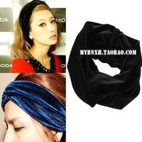 New Arrival Celeb Style Neon Headband Vintage Double Stretch Velvet Turban Headwrap Black Dark Blue Red Free Shipping HT06