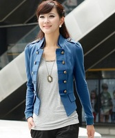 2013 New Women's Cool Double-breasted Puff Sleeve Slender Short Coat Blue/Black/Army Green (with Size M-XXL) HM13080819