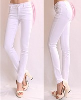 New 2014 Summer female slim white tight-fitting long trousers women skinny stretch plus size denim jeans pencil pants