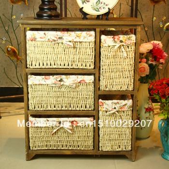 Pastoral rattan cabinet / drawer bedside cabinet five brown