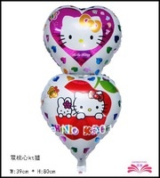 Free shipping: Two heart foil balloon hello kitty design