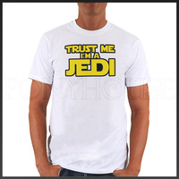 Free shipping TRUST JEDI STAR WARS yellow top lycra cotton short sleeve T-shirt Fashion Brand t shirt men new high quality