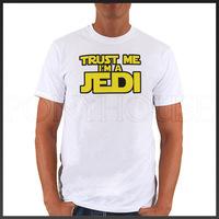 Free shipping TRUST JEDI STAR WARS yellow top lycra cotton short sleeve T-shirt Fashion Brand t shirt men new high quality