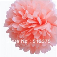 "OCT sale Free shipping 20pcs/lot Tissue Paper 10"" Pink Pom -Poms Party Evening Paper Flower Ball Wedding Decoration"