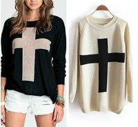 New Fashion Autumn Womens Cross Pattern Knit Sweater Outerwear Crew Pullover Tops Basic Sweater Free Shipping ZX0351