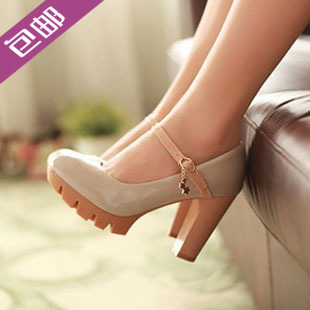 2013 spring and autumn casual thick heel single shoes high-heeled shoes fashion shoes women's button belt